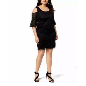 New City Studio Black Lace Cold Shoulder Dress 3X